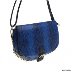 Snake Embossed Studded Vegan Leather Crossbody Bag