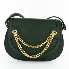 Chain Faux Leather Saddle Crossbody Bag
