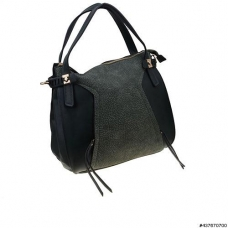 Lavish Teture Vegan Leather Trim Shoulder Bag