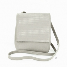 Embossed Stitched Faux Leather Crossbody Bag