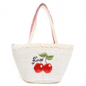 Cherry Embroidered Straw Tote