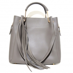 Removable Pouch Faux Leather Satchel