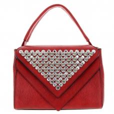 Crystal Deco Top Handle Faux Leather Satchel