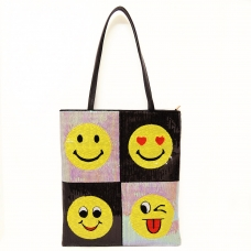 Happy Face Sequin Tote