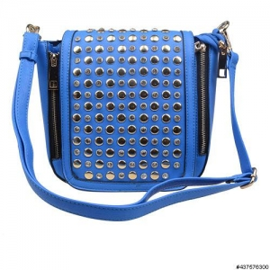 Vegan Leather Studded & Crystal Crossbody Bag