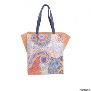 Modern Art Print Vegan Leather Tote