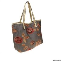 Fabric Mix Print Tote Bag With Pouch