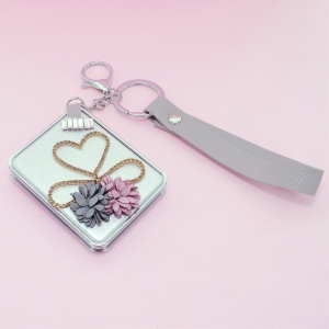 Crystal & Flowers Compact Mirror Bag Charms