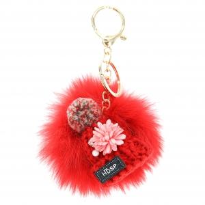 Knit Hat With Genuine Rabbit Fur Pompom Key Chain
