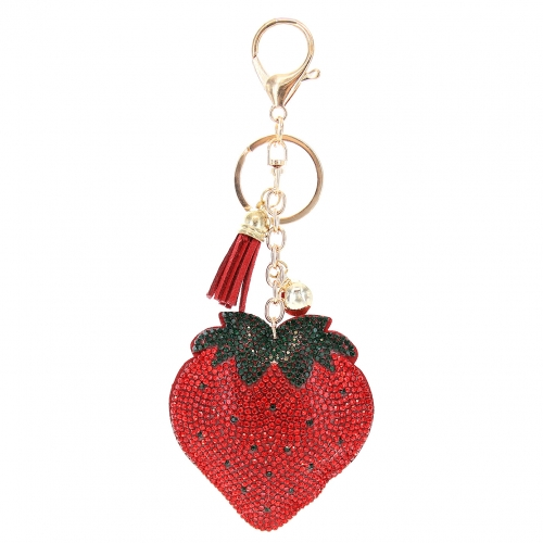 Glitter Crystal Strawberry Key Chain With Tassel