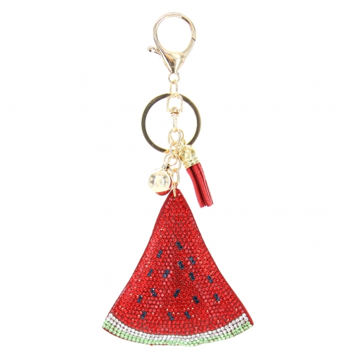 Glitter Crystal Watermelon Key Chain With Tassel
