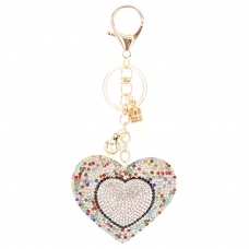 Glitter Crystal Heart Key Chain With Tassel