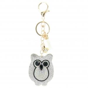 Glitter Crystal Owl Key Chain With Tassel