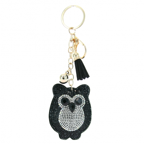 Glitter Crystal Owl Key Chain With Tassel