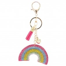 Glitter Crystal Rainbow Key Chain With Tassel