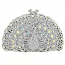 Glamorous Peacock Crystal Clutch Bag