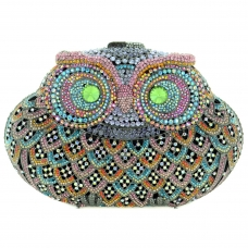 Happy Owl Crystal Evening Clutch