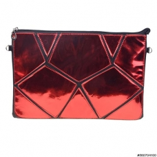 Stylish Metallic Patchwork Vegan Leather Clutch