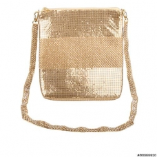 Rhinestone Stripe Metallic Mesh Bag