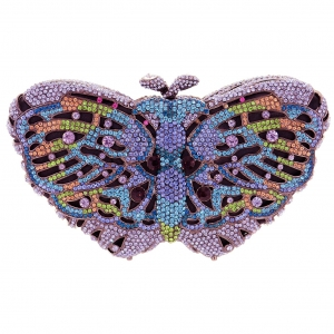 Crystal-Embellished Butterfly Evening Clutch
