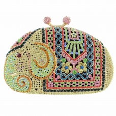 Crystal-Embellished Elephant Evening Clutch