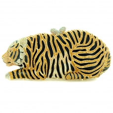Tiger Crystal-Embellished Evening Clutch