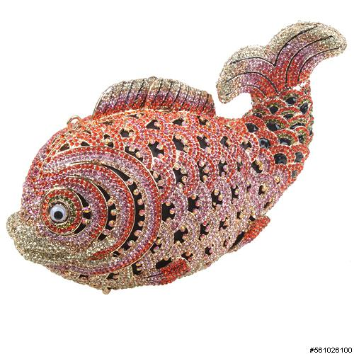 Crystal-Embellished Fish Evening Clutch
