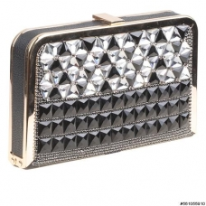 Vegan Leather Crystal Clutch