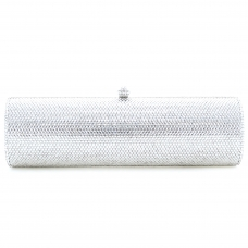 Crystal-Embellished Cylinder Evening Clutch