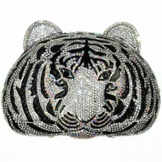 Crystal-Embellished Tiger Head Evening Clutch