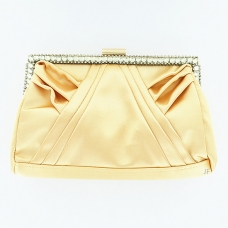 Elegan Crystal Frame Silk Like Stain Clutch