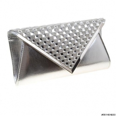 Embossed Vegan Leather Crystal Clutch