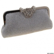 Crystal Clasp Rhinestone Mesh Evening Clutch
