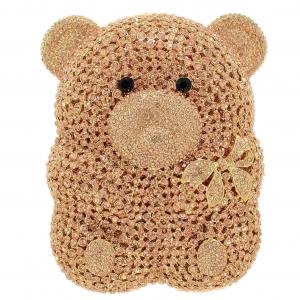 Crystal-Embellished Teddy Bear Evening Clutch