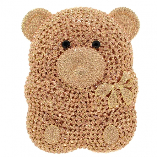 Crystal-Embellished Teddy Bear Evening Clutch