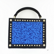 Art Embossed Studded Vegan Lether Frame Box Clutch