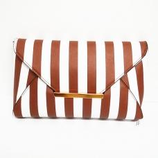 Faux Leather Stripe Clutch