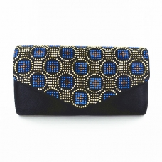 Studded Silk Like Stain Clutch