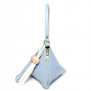 Triangle Faux Leather Tassel Wristlets Bag