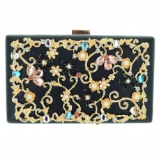 Relief Crystal Deco Rectangle Clutch