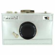 Camera Faux Patent Leather Clutch