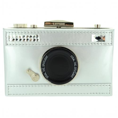 Camera Faux Patent Leathe, Silver