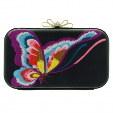 Butterfly Embroidered Satin Clutch
