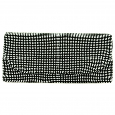 Crystal Mesh Clutch, White