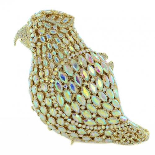 Crystal-Embellished Parrot Evening Clutch