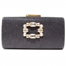 Crystal Buckle Glitter Clutch