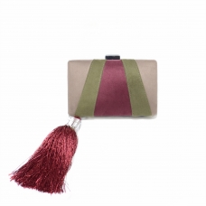 Faux Suede Tassel Clutch, RED