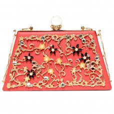 Vintage Inspired Relief Crystal Clutch