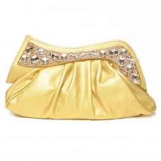 Sparkling Crystal Texture Faux Leather Clutch