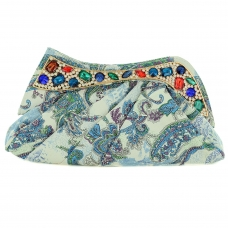 Jewelry Tone Crystal Print Clutch